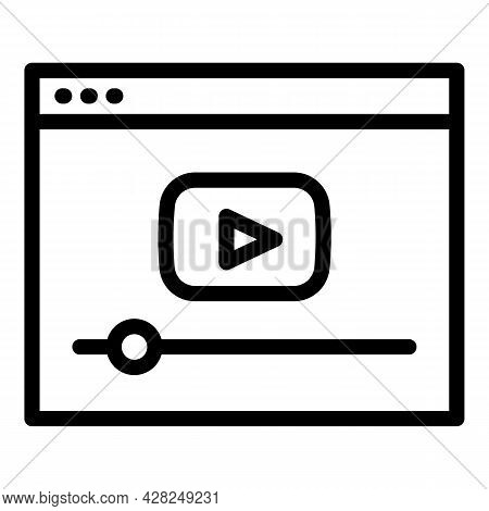 Interactive Learning Video Online Icon. Outline Interactive Learning Video Online Vector Icon For We