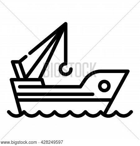 Marine Port Crane Ship Icon. Outline Marine Port Crane Ship Vector Icon For Web Design Isolated On W