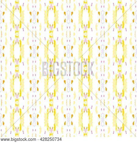 Ikat, Tie Dye. Batik, Hand Drawn Ornament. Geo Surface. Endless Repeat Painting. Sepia Yellow Geo Tr