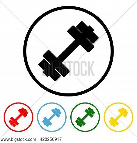 Fitness Icon Vector Illustration Design Element With Four Color Variations. Vector Illustration. All