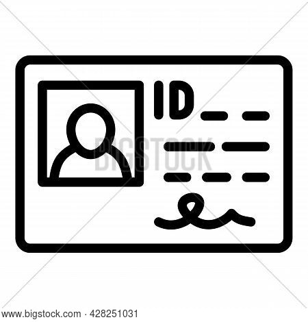 Driver License Id Icon. Outline Driver License Id Vector Icon For Web Design Isolated On White Backg