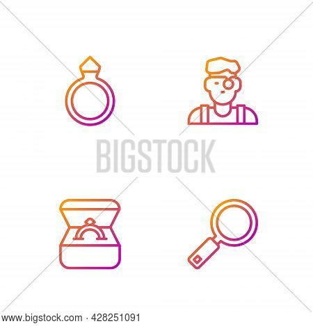 Set Line Magnifying Glass, Diamond Engagement Ring Box, And Jeweler Man. Gradient Color Icons. Vecto