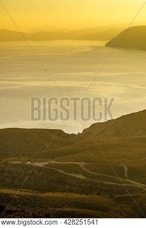 Coastal Landscape At Sunset, Mesa Roldan Headland In Province Almeria, Andalusia Spain. Cabo De Gata
