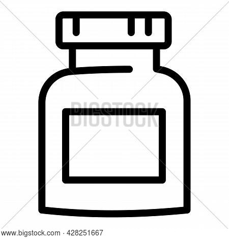Protein Nutrition Jar Icon. Outline Protein Nutrition Jar Vector Icon For Web Design Isolated On Whi