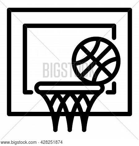 Basketball Throw Goal Icon. Outline Basketball Throw Goal Vector Icon For Web Design Isolated On Whi