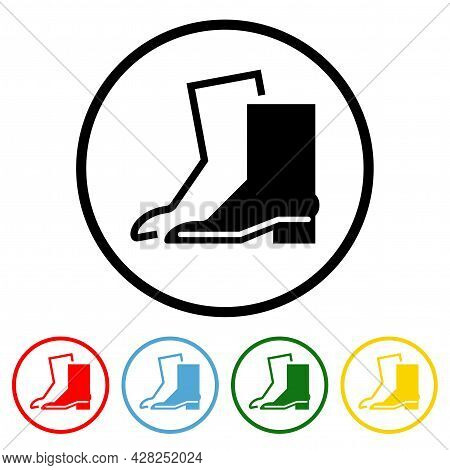 Wear Safety Footwear Building Icon Vector Illustration Design Element With Four Color Variations. Ve