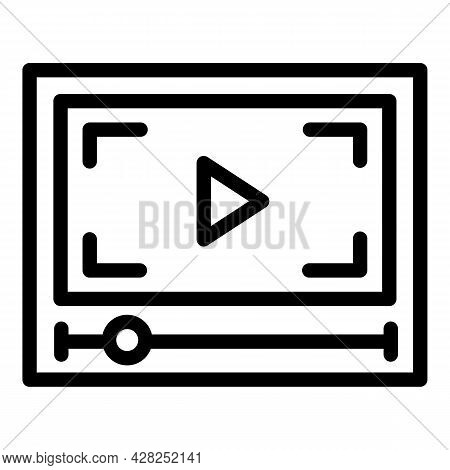 Play Movie Clip Icon. Outline Play Movie Clip Vector Icon For Web Design Isolated On White Backgroun