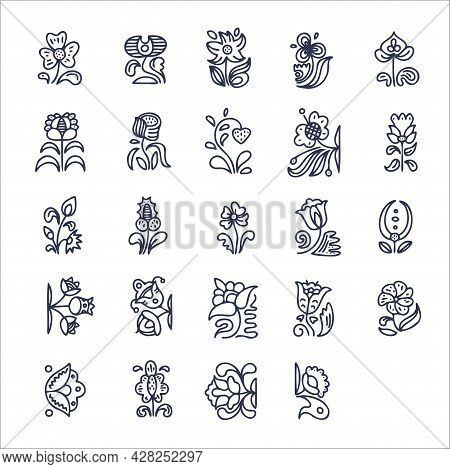Set Of Plant Elements. Doodle Elements In Traditional Style. Abstract Line Art Collection With Flora