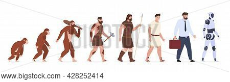 Human Evolution From Monkey To Businessman And Robot Artificial Intelligence Vector Illustration