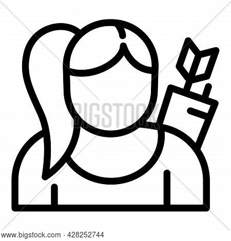 Woman Archer Icon. Outline Woman Archer Vector Icon For Web Design Isolated On White Background