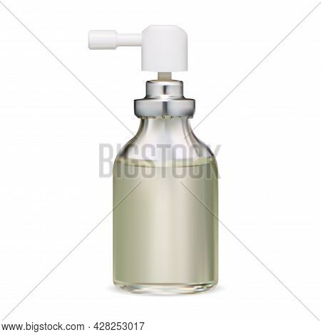 Spray Bottle. Throat Inhaler Packaging Blank. Realistic Aerosol Glass Bottle, Moisturizer Liquid, At