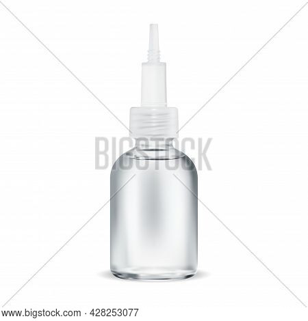 Skin Serum Acid Bottle. Beauty Collagen Face Care Essence. Hyaluronic Acid Container With Droplet. C