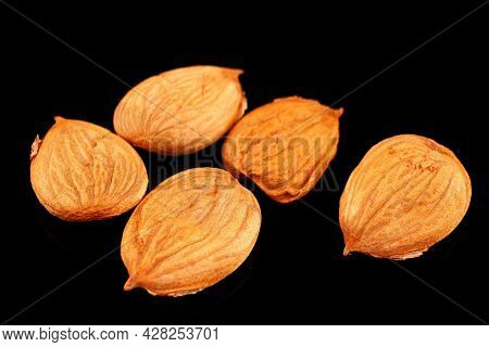 The Apricot Kernels On A Black Background