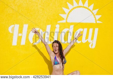 Summer Resort At Pool Beach. Relax And Sunbathe. Happiness. Happy Woman On Yellow Background. Summer