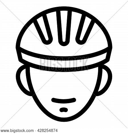Cyclist With Helmet Icon. Outline Cyclist With Helmet Vector Icon For Web Design Isolated On White B