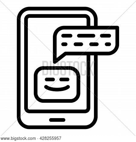 Phone Chatbot Icon. Outline Phone Chatbot Vector Icon For Web Design Isolated On White Background