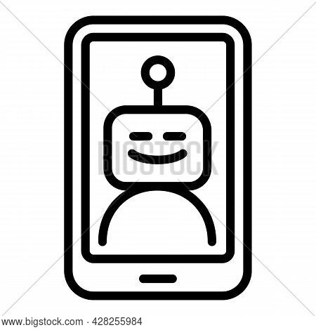 Smiling Chatbot Icon. Outline Smiling Chatbot Vector Icon For Web Design Isolated On White Backgroun