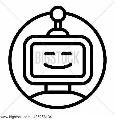 Virtual Chatbot Icon. Outline Virtual Chatbot Vector Icon For Web Design Isolated On White Backgroun
