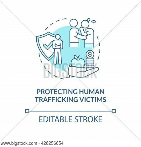 Protecting Human Trade Victims Blue Concept Icon. Help And Assist Trafficking Victims Abstract Idea