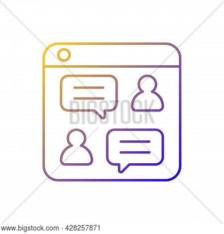 Social Discussion Platforms Gradient Linear Vector Icon. Posting Messages And Questions On Website.