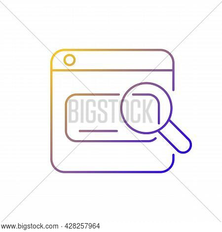 Search Engines Gradient Linear Vector Icon. Looking Up Information On Internet. Using Keywords, Phra
