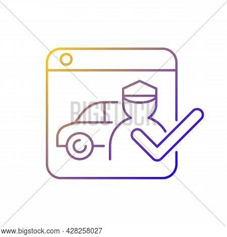 Ride-hailing Platforms Gradient Linear Vector Icon. Ridesharing Company. Hiring Personal Driver Onli