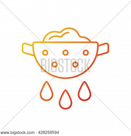 Drain Food Gradient Linear Vector Icon. Rinsing Pasta From Water. Product In Colander With Pouring G