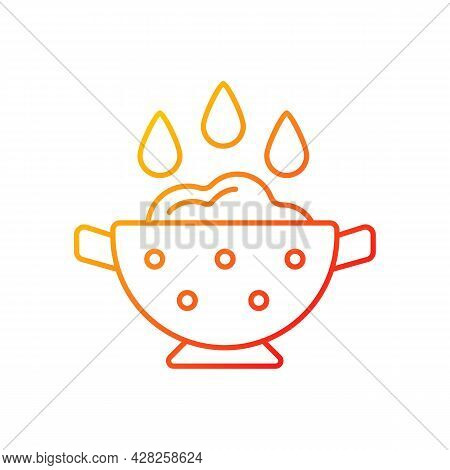 Rinse Cooking Ingredient Gradient Linear Vector Icon. Wash Rice On Bowl With Holes. Food Preparation