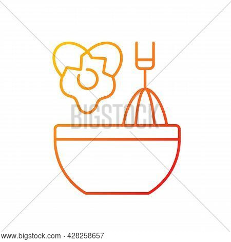 Scramble Cooking Ingredient Gradient Linear Vector Icon. Beating Eggs In Pot. Stirring In Bowl As Re