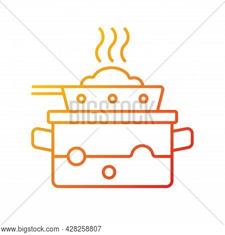 Steam For Cooking Gradient Linear Vector Icon. Boil Water In Pot To Cook Meal On Pan. Dinner Recipe.