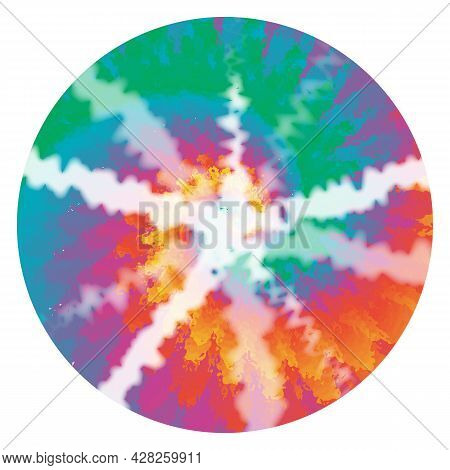 70s Shibori Tie Dye Abstract Background In Round Hippie Style Psychedelic Fabric Boho Design Hippy S
