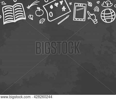 School Education. Abstract Blackboard With School Supplies. Education Concept. Black And White Illus