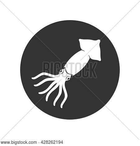 Squid Graphic Icon. Squid Sign In The Circle Isolated On White Background. Vector Illustration