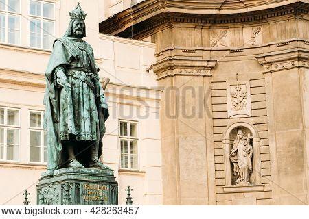 Bronze Statue Of Czech King Charles Iv In Prague, Czech Republic