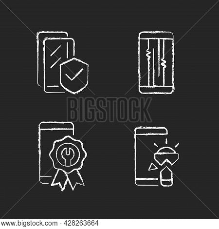 Common Phone Breakdowns Chalk White Icons Set On Dark Background. Certified Repair. Screen Protector