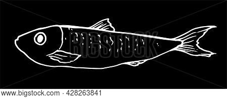 Vector Sprat. Graphics Of A Stylized Fish Of A Small Sprat With Dots On The Back, Made In The Style