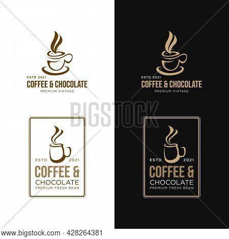 Coffee And Chocolate Shop Vintage Logo Vector Image. Vintage Coffee Shop And Cafe Logos Badges And V
