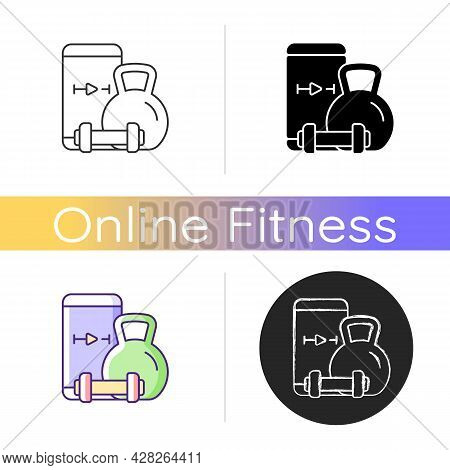Online Weightlifting Exercises Training Icon. Sence Wellbeing Improvement, Stamina And Weight Manage