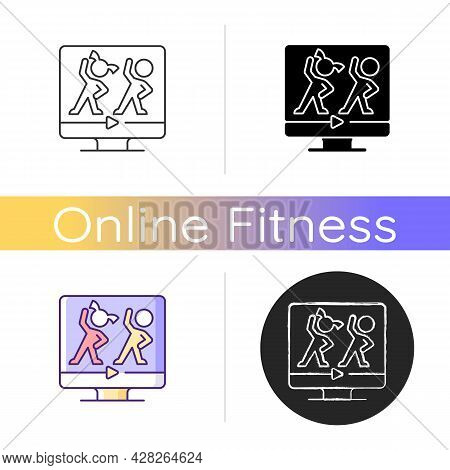 Online Aerobic For Kids Icon. Fitness Family Workouts. Basic Exercises And Dance Moves Programs. Fun