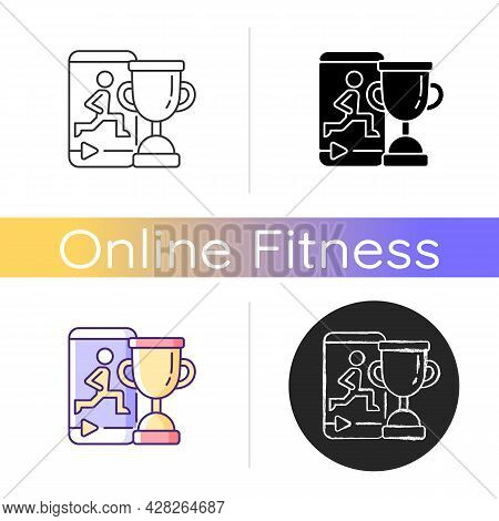 Fitness Online Challenge Icon. Virtual Corporate And Private Wellness Initiatives. Team Skills Eleva