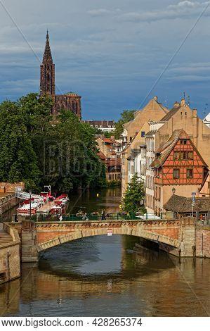 Strasbourg, France, June 23, 2021 : The Ponts Couverts. A Set Of Three Bridges Make Up A Defensive W