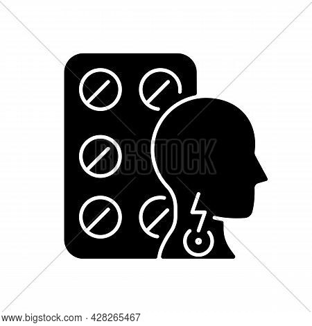 Lozenges For Sore Throat Black Glyph Icon. Irritation Sensations Relieving. Soothing Itchy Throat. R