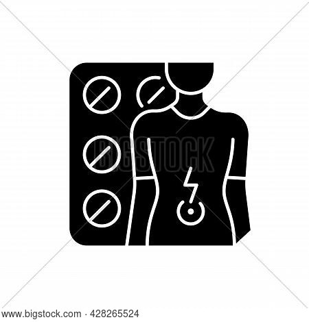 Tablets For Stomach Ache Black Glyph Icon. Relaxing Muscles In Abdomen. Digestive Wellbeing. Treatin