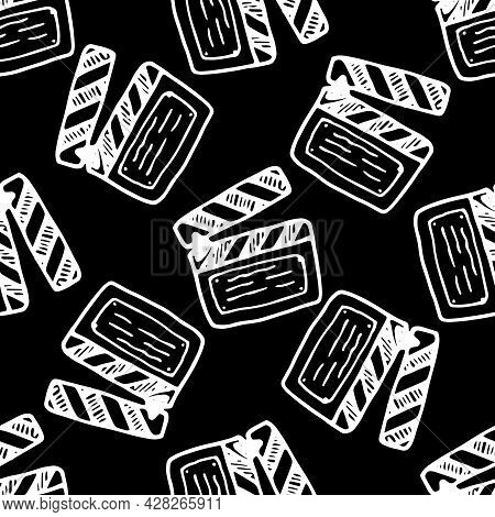 Vector Seamless Pattern From Movie Clapperboard Doodle. A Hand-drawn Movie Firecracker Element Is An