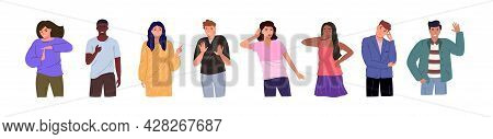 Group Of Young People Of Different Races And Cultures Isolated On A White Background. Flat Cartoon C