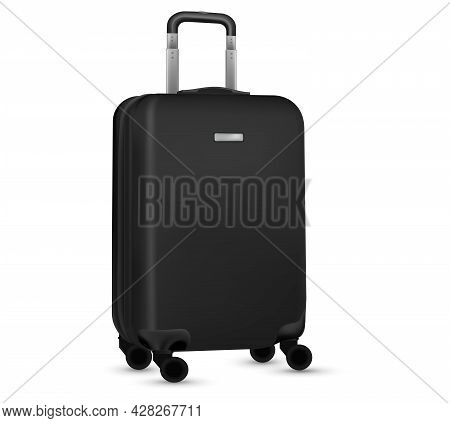 Suitcase White Background. Black Plastic Luggage Or Vacation Baggage Bag Collection Isolated. Copy S