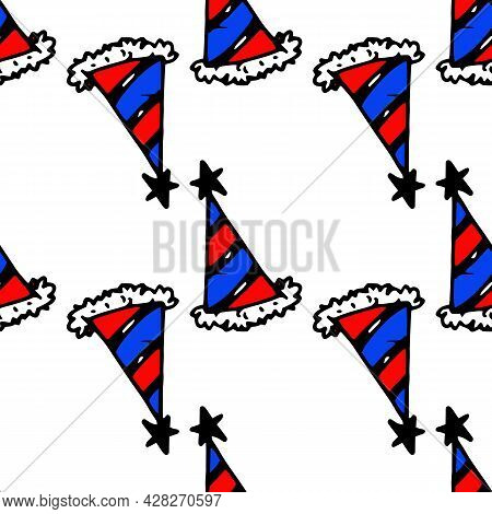 Vector Seamless Pattern Of A Festive Cap With Red And Blue Stripes And A Star At The End. A Pattern