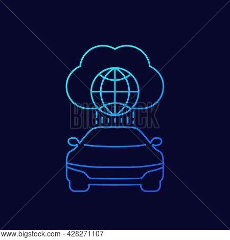 Autonomous Car, Connected To Cloud Linear Icon