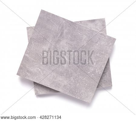 Abstract grey background texture isolated on white. Gray piece of chipboard isolate at white background