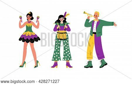 Man And Woman In Bright Costumes For Circus Show Or Entertaining Performance Vector Set